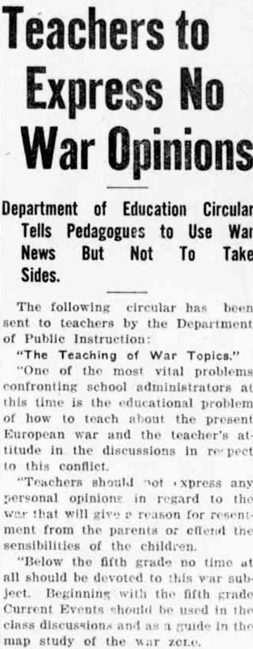 Maintaining objectivity in the classroom, 1914 style. Circular from #WW1 arguably still relevant