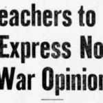 Teacher Objectivity in WW1