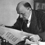 Lenin reading Pravda
