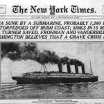 RMS Lusitania newspaper front page