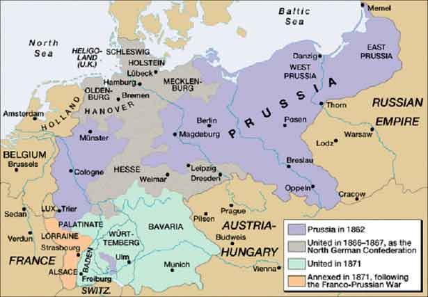 Map Of Germany Before Unification.The Unification Of Germany 1866 71 History Revision For Gcse