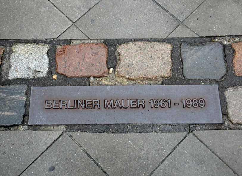 Berlin wall memorial on street