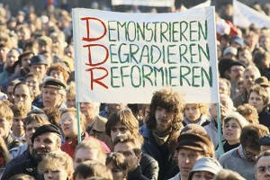 Bucking the popular myth of impromptu fall of the Berlin Wall these East Germans were protesting in Leipzig, Oct 1989