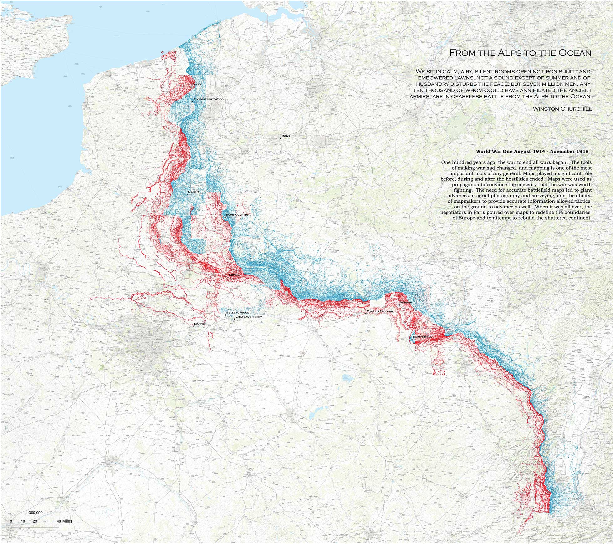 Map showing extent of WW1 trench movement, Aug 1914-Nov 1918 ...